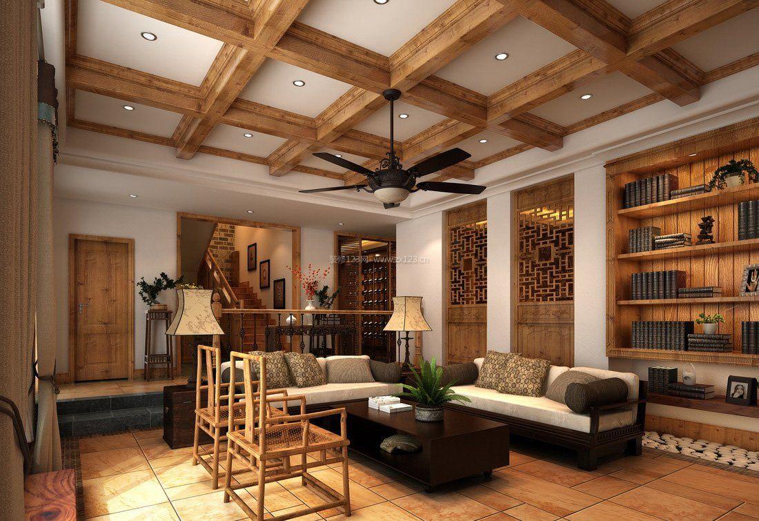 中式效果图片别墅装修吊顶田园木质巢湖别墅的图片