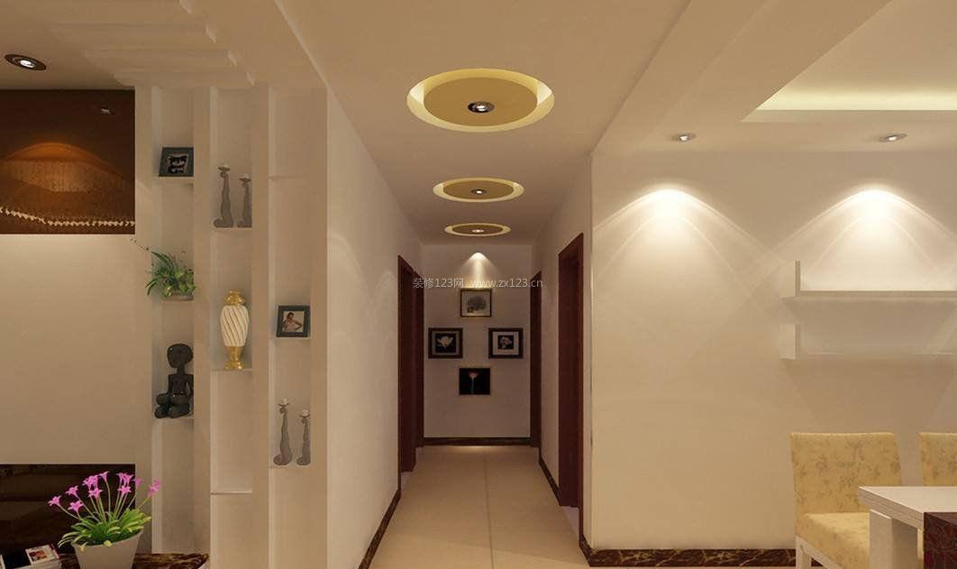 走廊客厅圆形吊顶装修效果图片