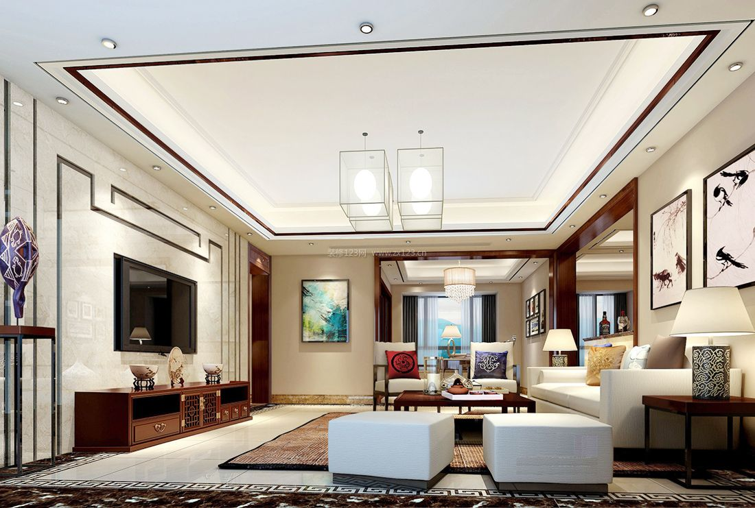 中式简约风格客厅电视墙设计效果图案例图片