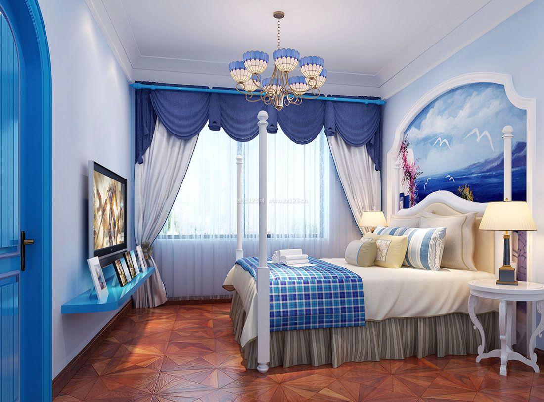 2017地中海家居卧室窗帘装修效果图