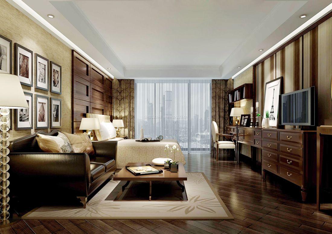 2017美式家居别墅卧室装修设计效果图案例图片