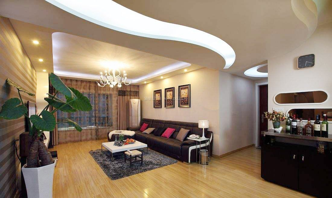 简单客厅走廊吊顶装修效果图