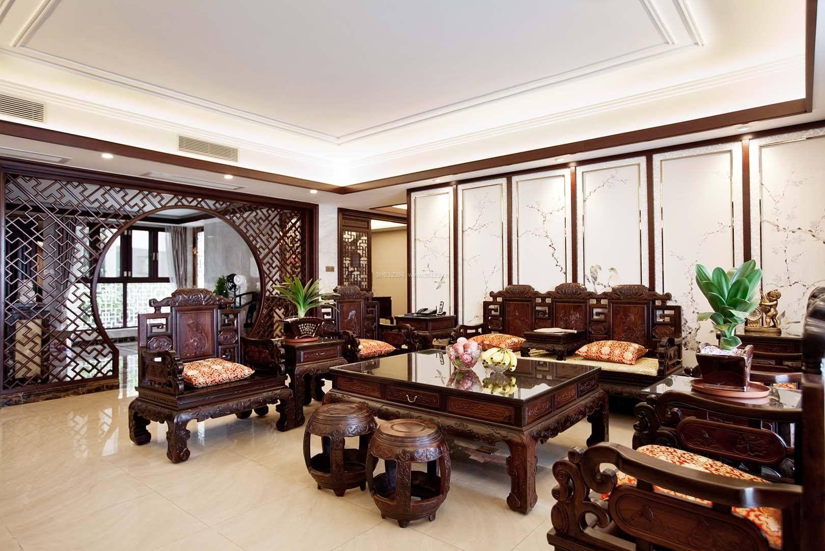新中式风格元素中式客厅家具效果图