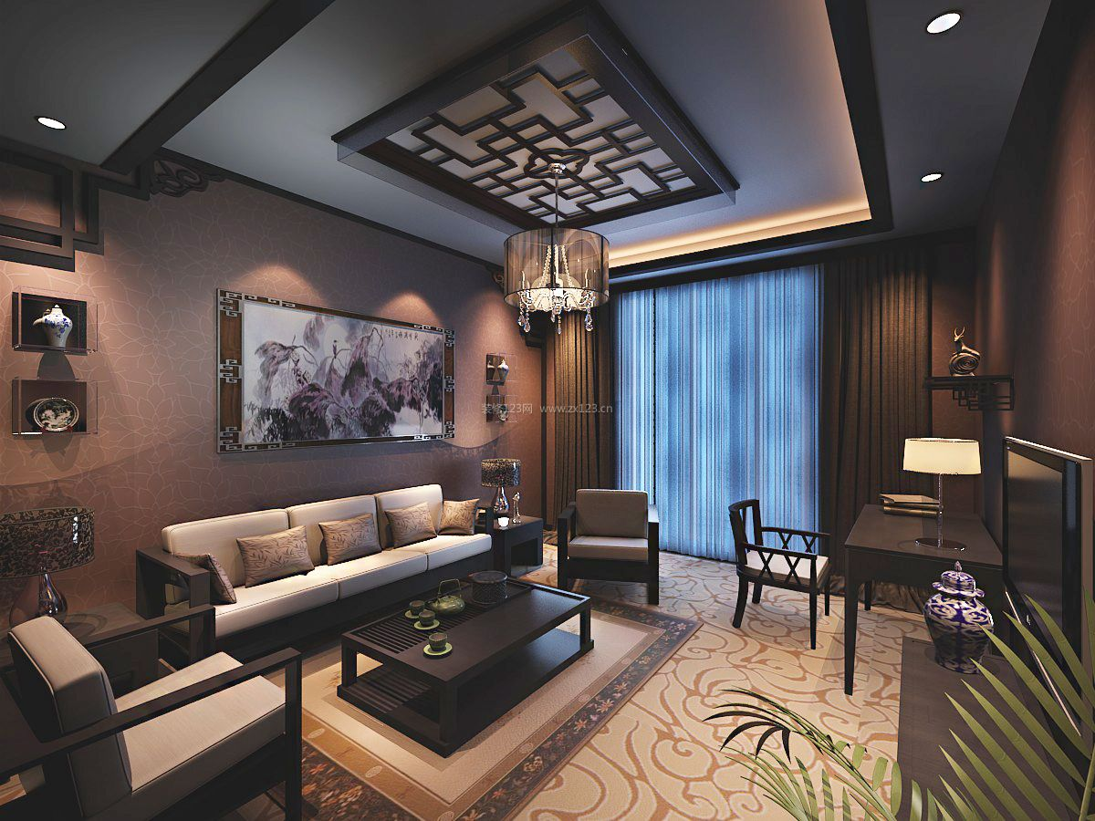 家装效果图 中式 2017现代中式客厅沙发背景墙装修效果图片 提供者