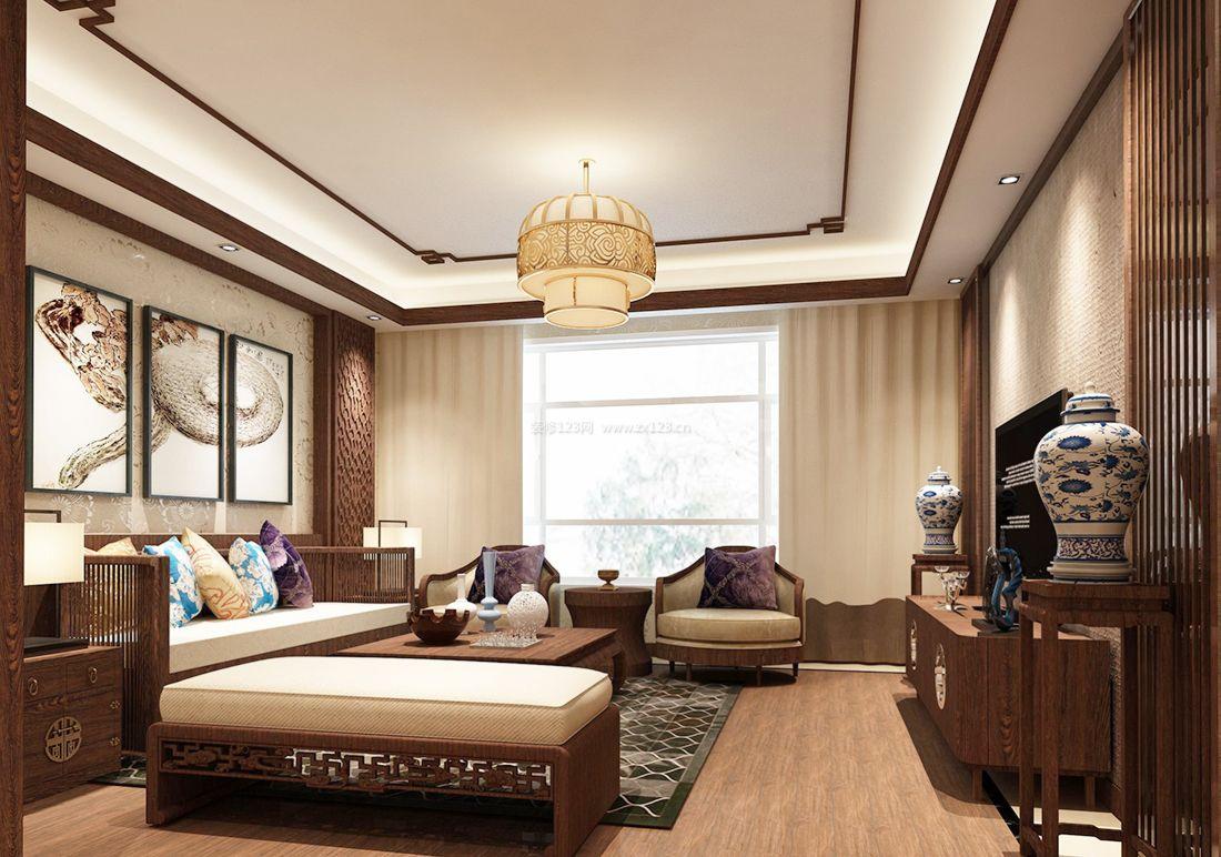 最新中式风格室内客厅窗帘装修效果图片