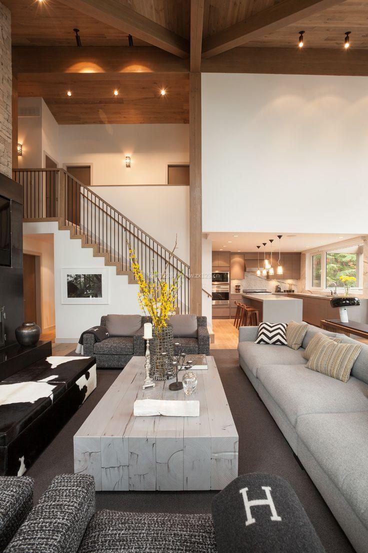 現代簡約客廳吊頂造型樣板房圖片