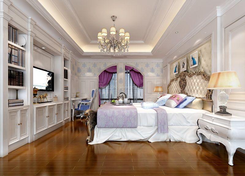 简欧式卧室电视墙设计装修效果图