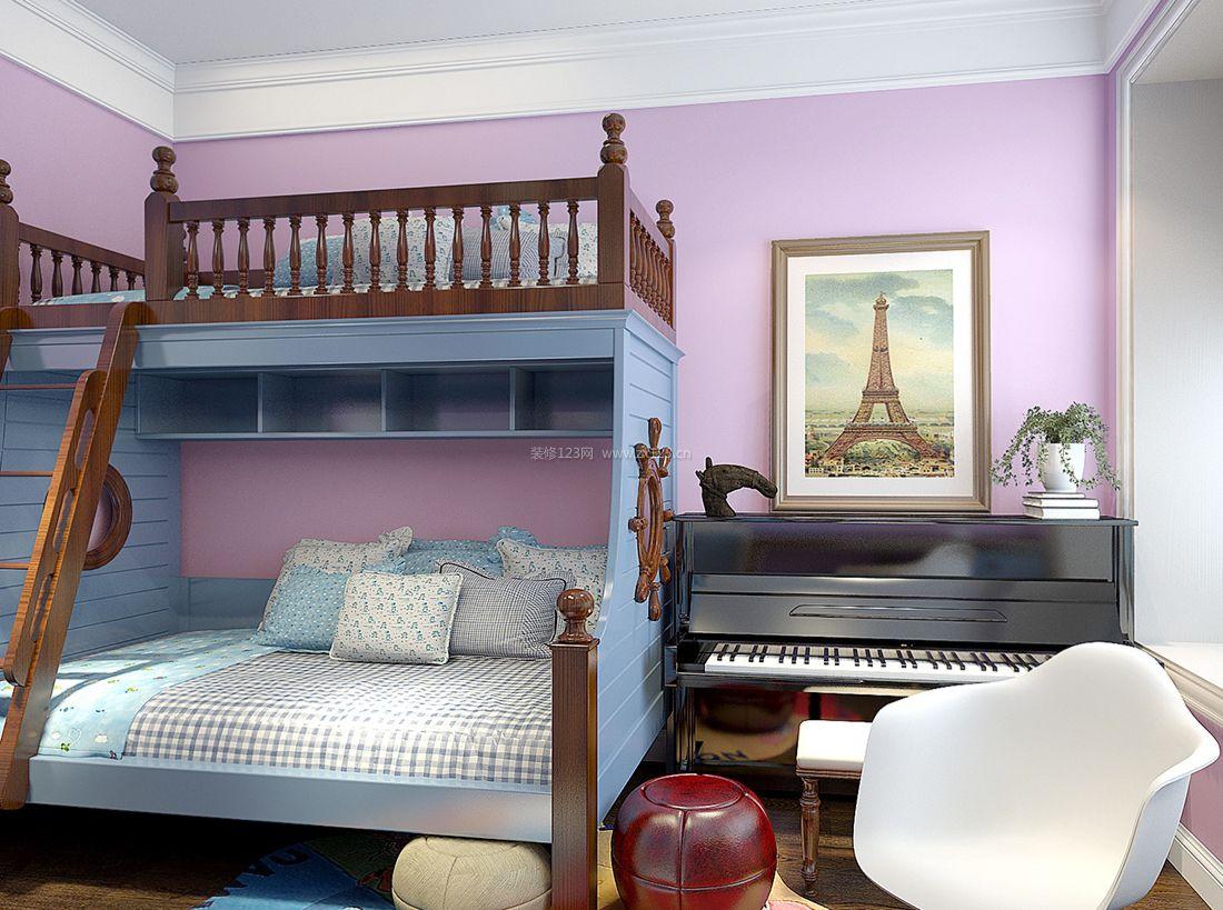 地中海设计阳台改卧室装修高低床效果图片