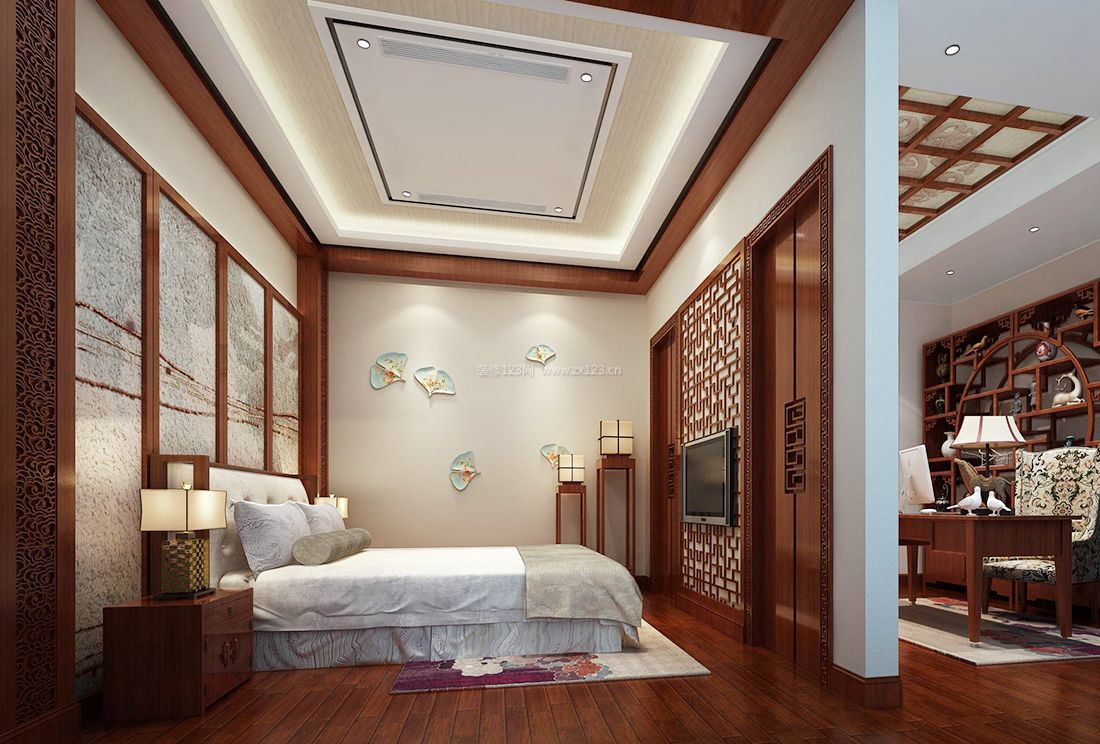 中式家居别墅婚房卧室装饰装修效果图大全图片