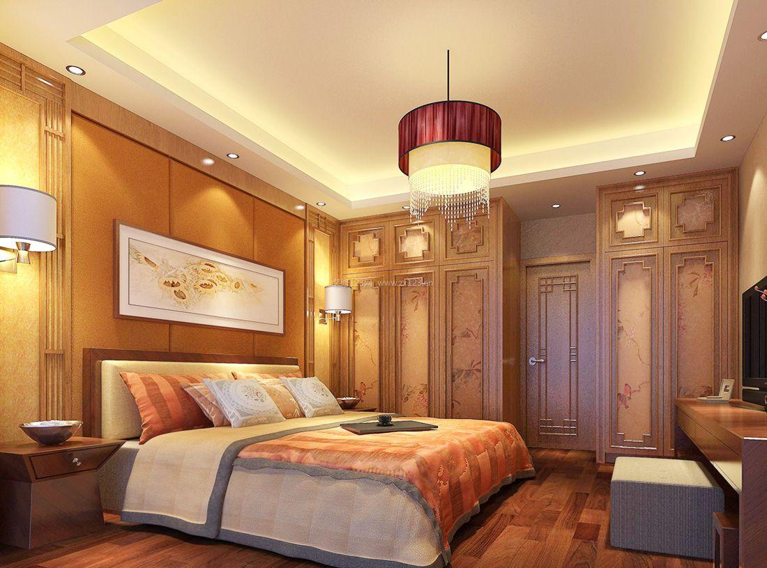 中式风格家居婚房卧室装饰装修效果图