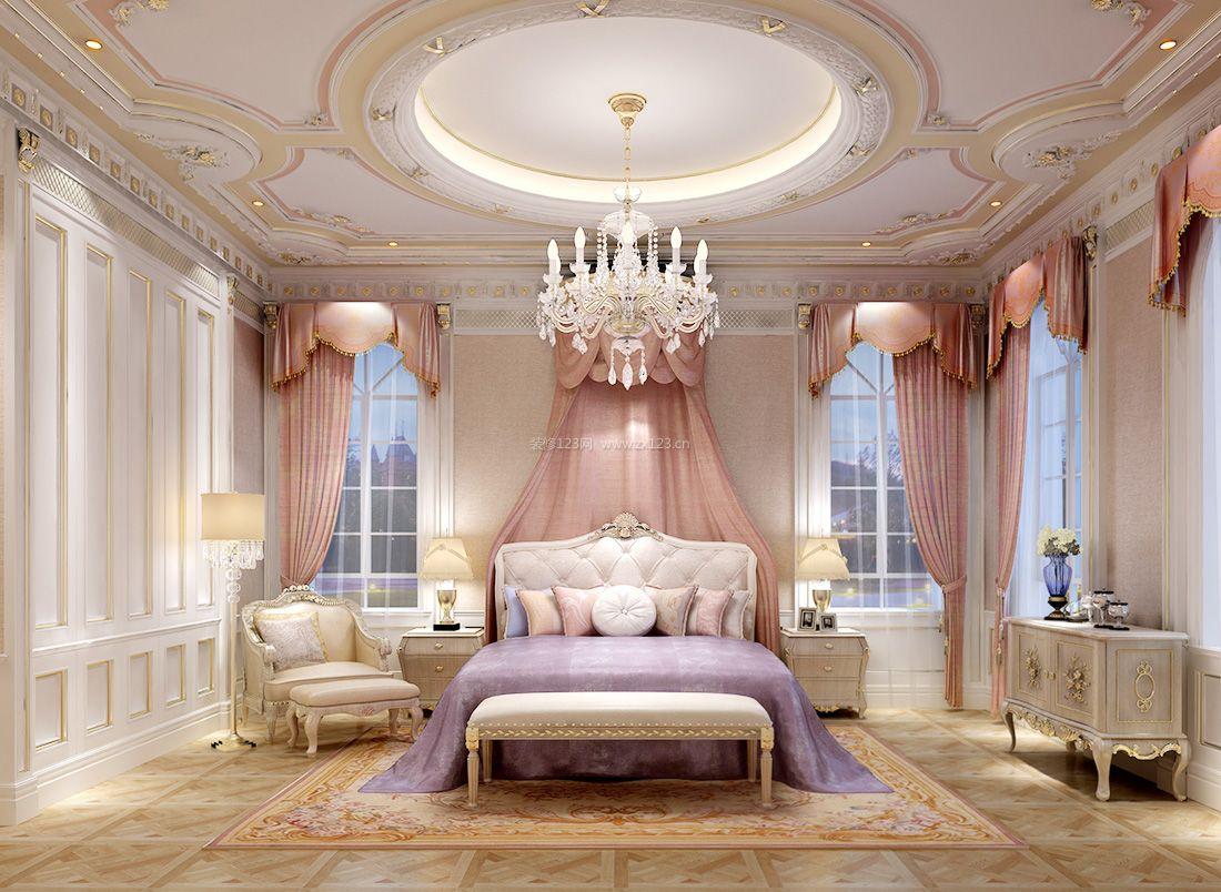 欧式家居婚房卧室圆形吊顶装饰装修效果图片