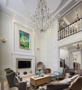 2017别墅挑高客厅水晶灯吊顶造型设计