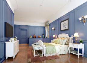 家居装饰婚房卧室 蓝色墙面装修效果图片