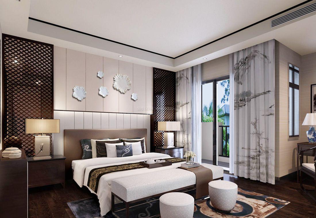 2017简约中式风格卧室窗帘装修效果图片