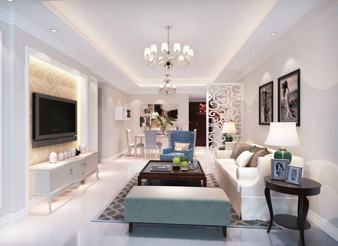 现代欧式15平米客厅镂空隔断装修效果图案例