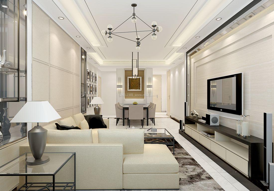 最新现代15平米客厅简约吊灯装修效果图片