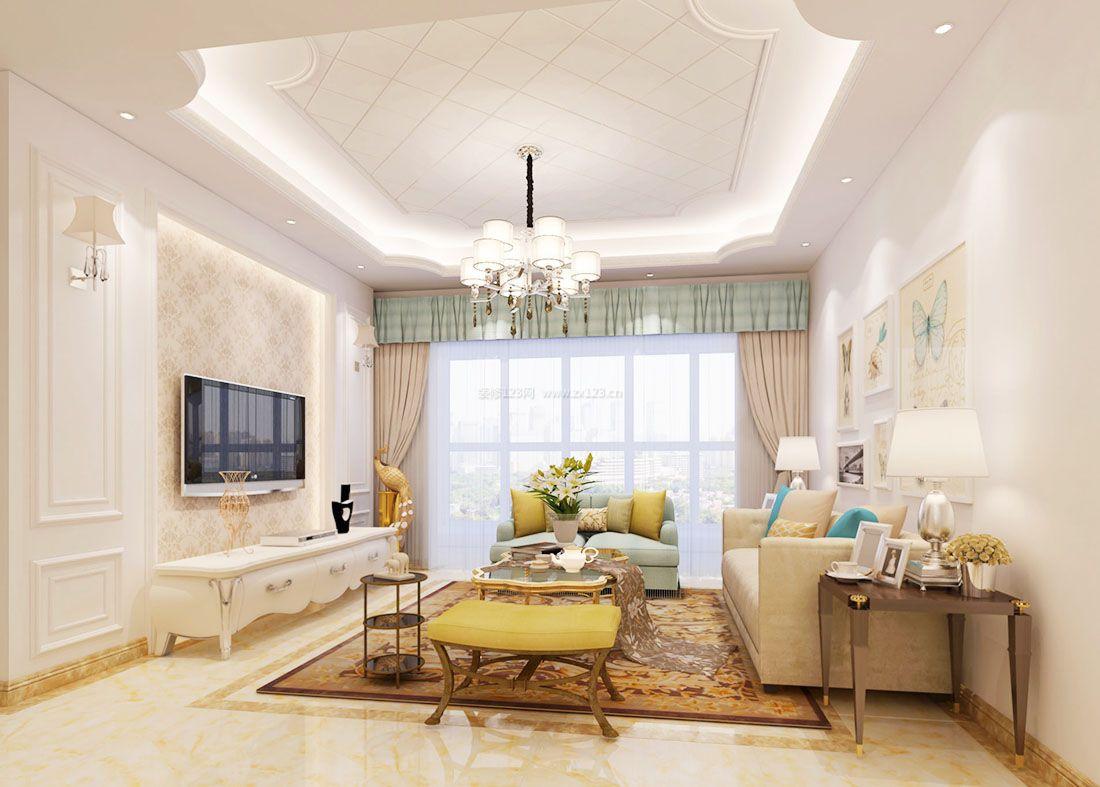 欧式室内15平米客厅沙发凳装修效果图片2017