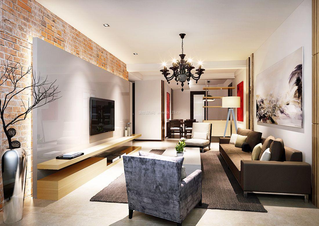 2017现代15平米客厅电视背景墙设计图