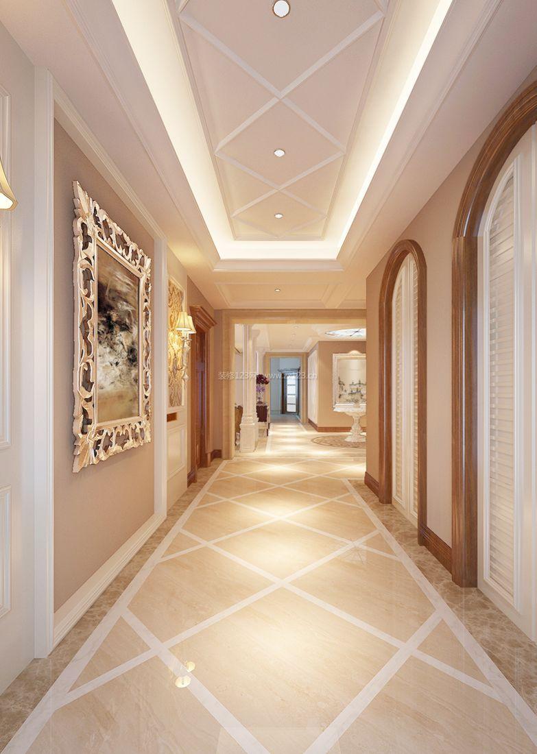 简欧家装走廊设计石膏吊顶装修效果图
