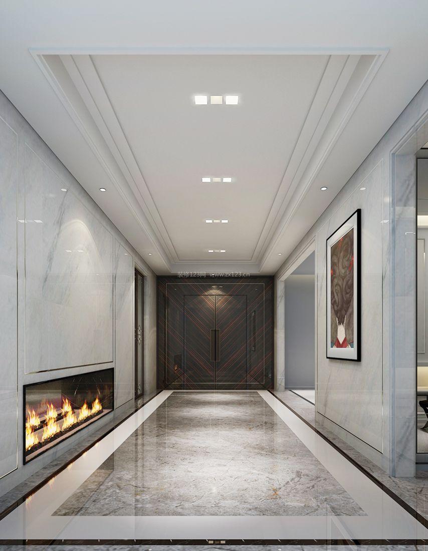 中式走廊设计石膏板吊顶效果图案例