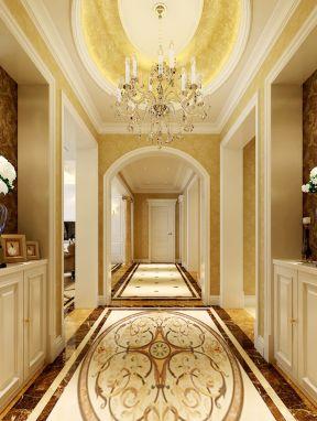 2017欧式别墅走廊设计圆形吊顶装修效果图片