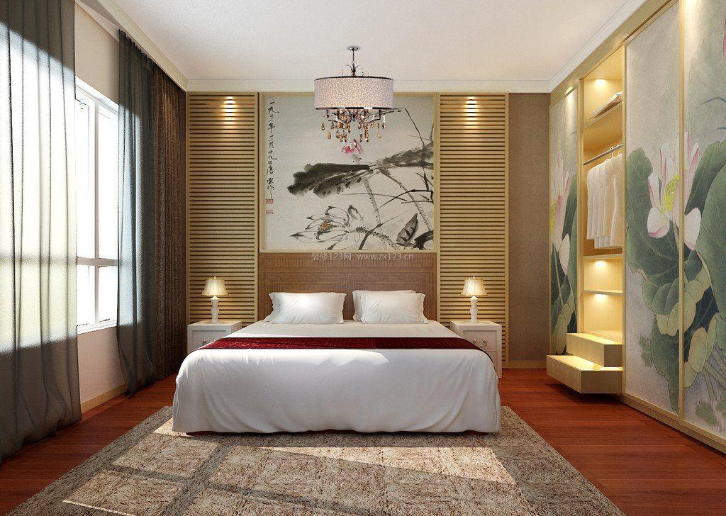2017中式家居卧室床头背景墙设计效果图图片