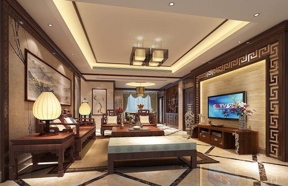 最新中式别墅客厅实木沙发装修效果图片大全