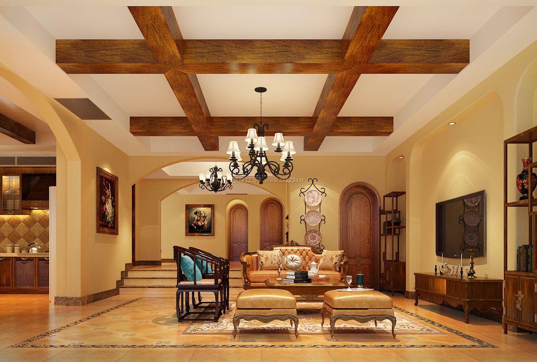 2017美式风格别墅客厅木质吊顶装修效果图片