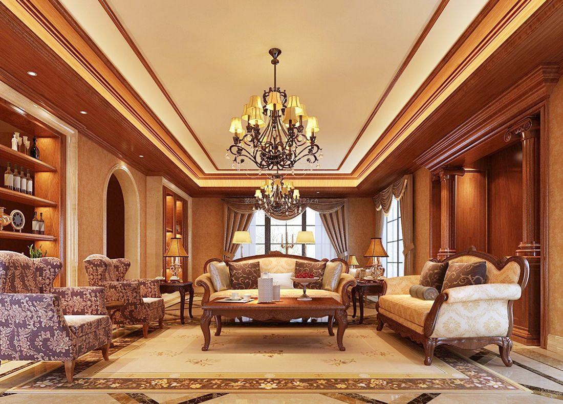 2017美式风格别墅客厅组合沙发装修效果图片