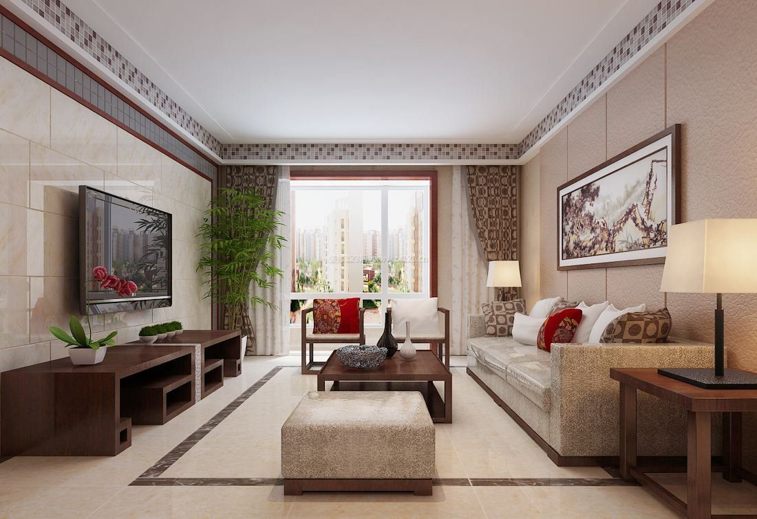 最新现代中式客厅装修效果图图片