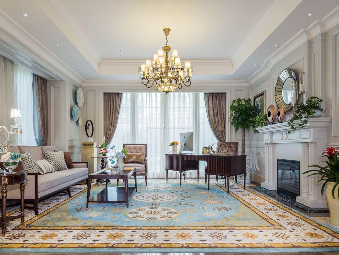 2017美式风格别墅书房地毯装修效果图片图片