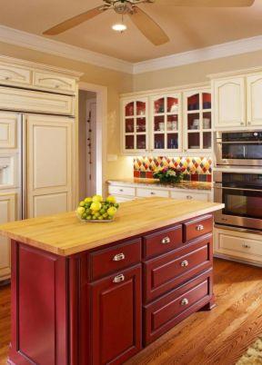 开放式美式风格整体橱柜 橱柜中岛装修效果图片
