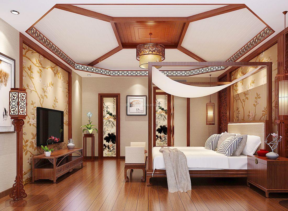最新现代中式卧室吊顶造型装修效果图片