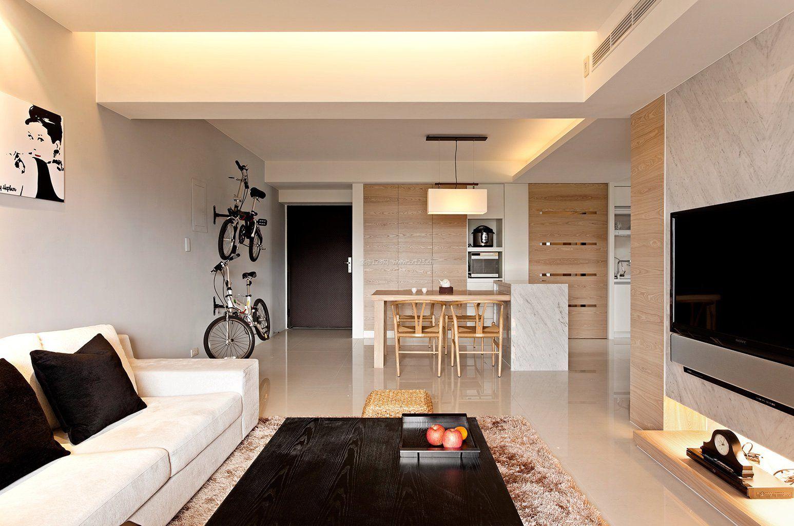 黑白现代风格时尚简约客厅效果图_装修123效果图