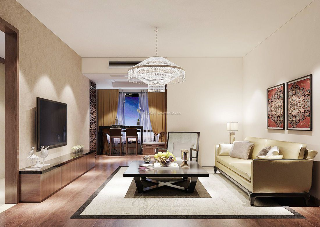 现代温馨家装客厅水晶灯装修效果图片2017