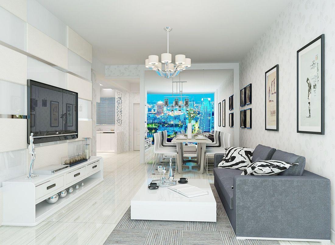 2017简约现代风格客厅沙发背景墙装修效果图