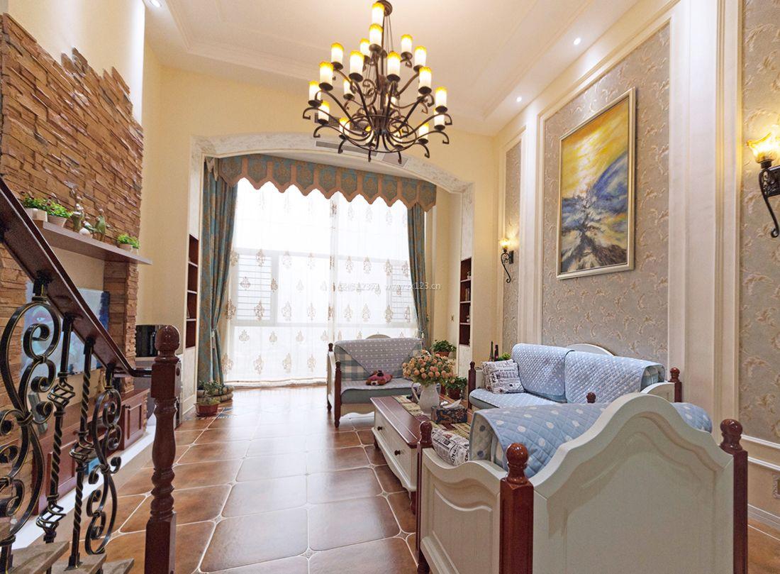美式风格室内小客厅装修设计效果图2017图片