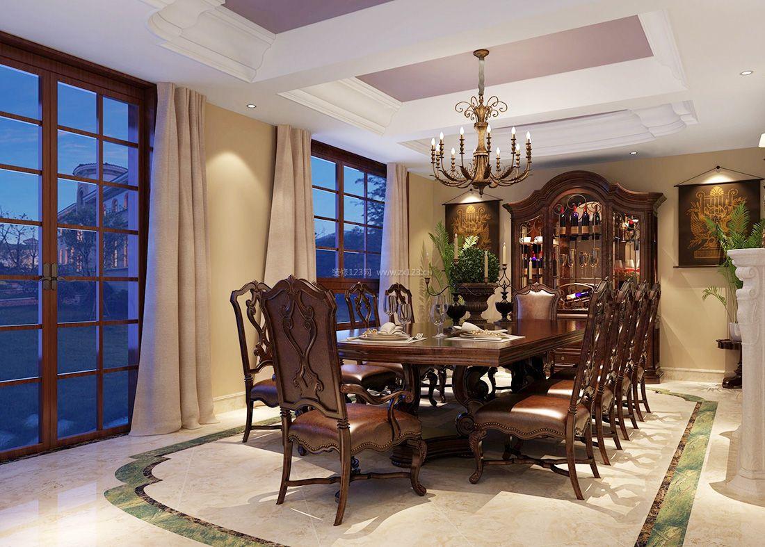 2017美式风格别墅室内餐厅设计效果图片
