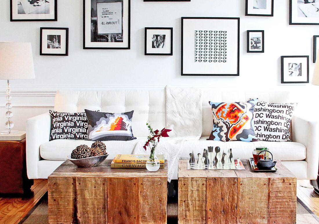 混搭风格客厅沙发背景墙装修效果图2017
