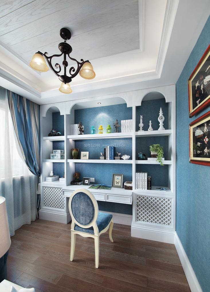 地中海田园风格书房书柜设计效果图图片