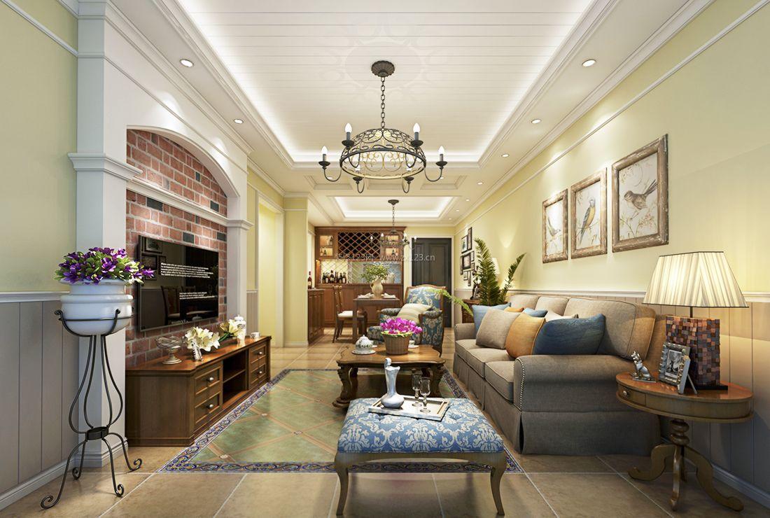 美式田园风格室内客厅装修效果图片2017