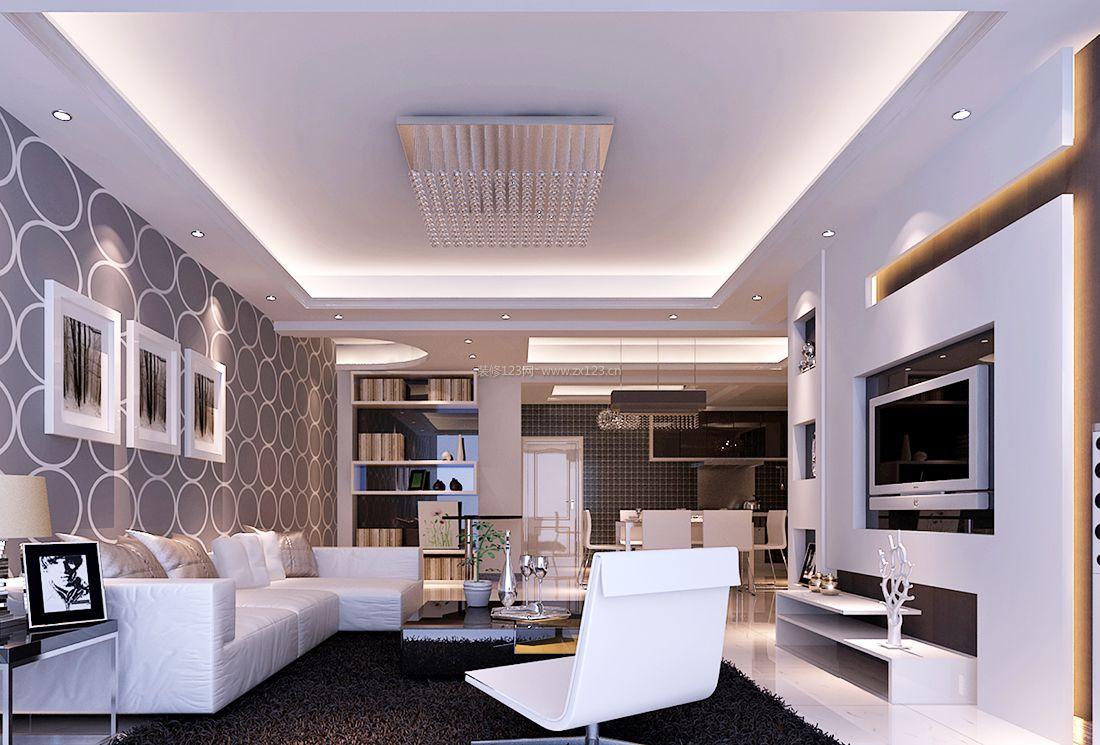 最新现代简约风格客厅墙面壁纸装修效果图片