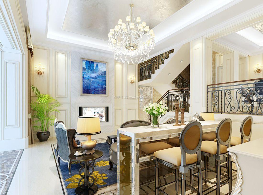 2017简约欧式风格小别墅客厅装修效果图片