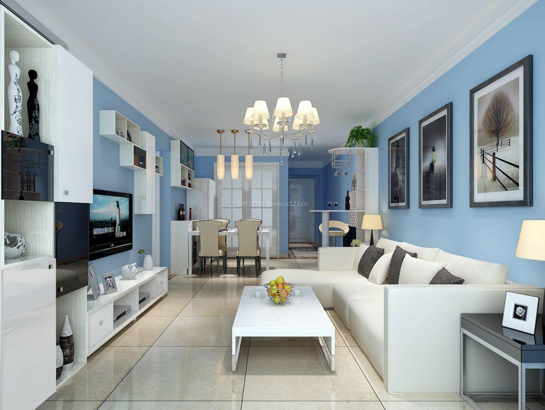 现代简约风格客厅蓝色墙面装修效果图片案例