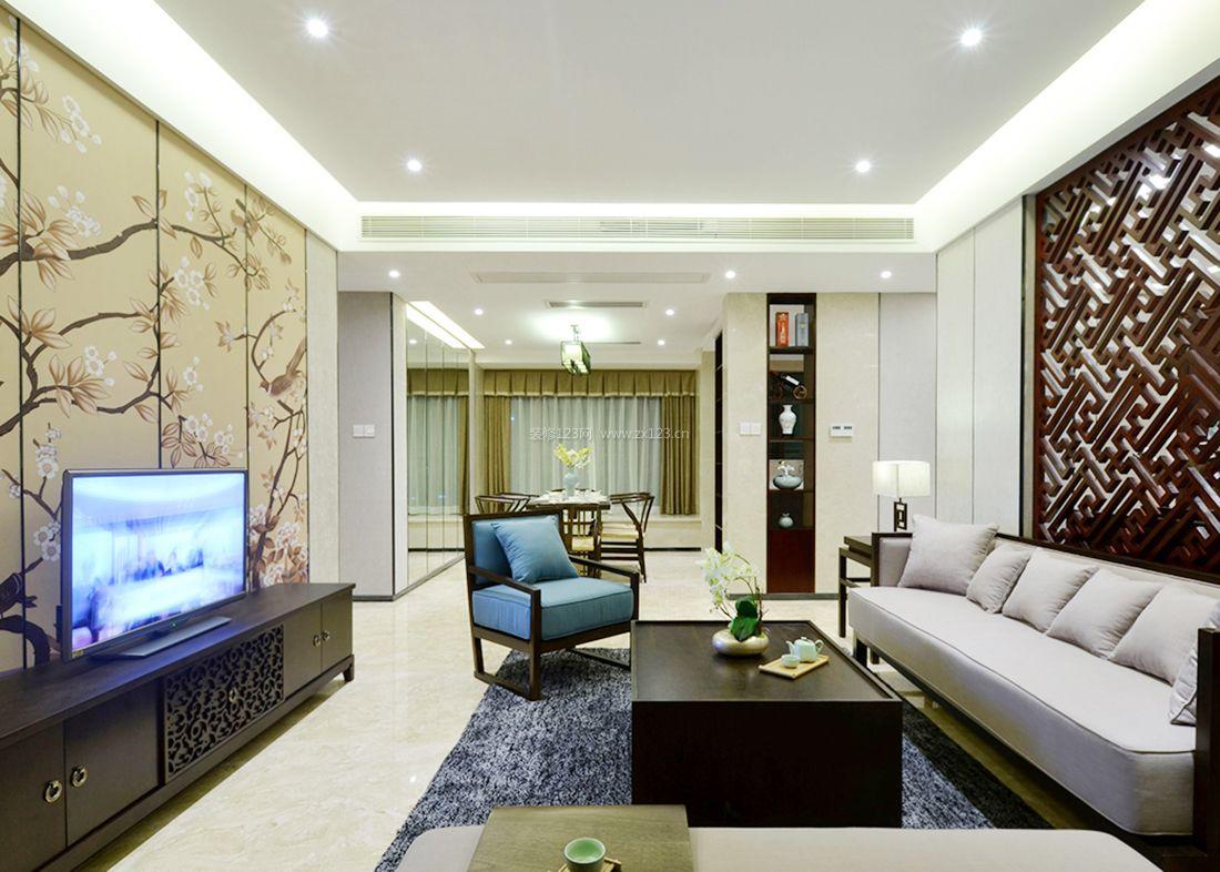 中式小别墅客厅电视背景墙壁纸效果图2017图片