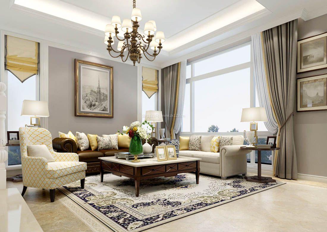 2017简约美式小别墅客厅窗帘装修效果图图片