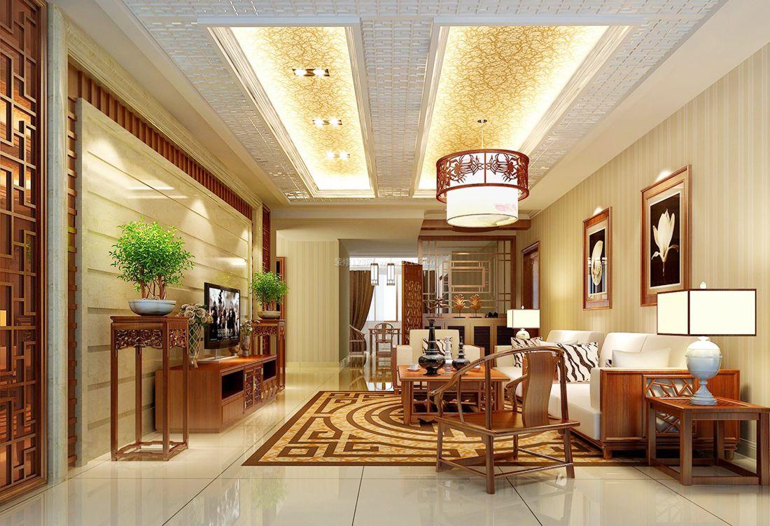 中式家装小别墅客厅简约吊灯装修效果图片2017