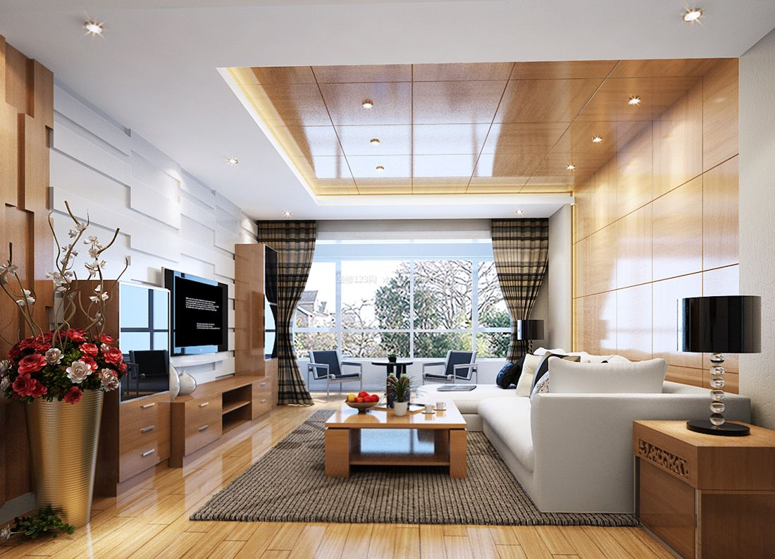最新现代简约风格客厅吊顶设计装修效果图片