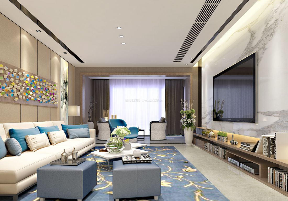 最新现代简约风格客厅背景墙装饰设计效果图