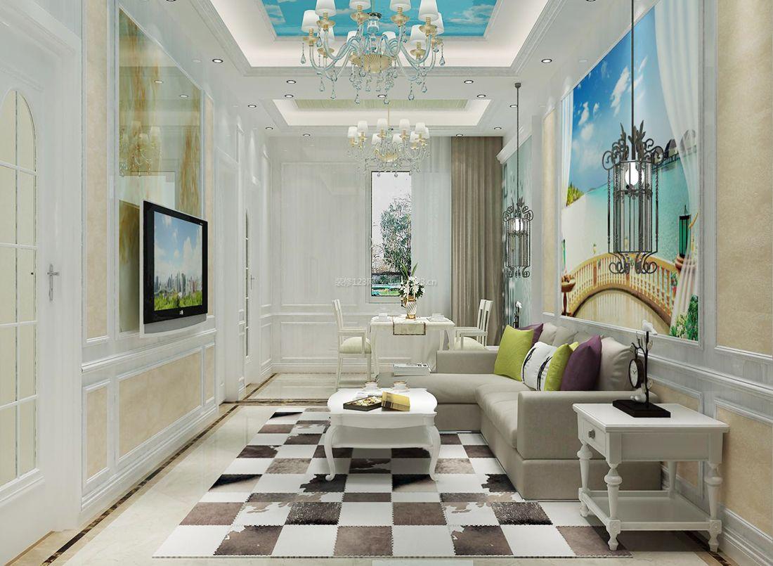 现代欧式简约风格客厅电视背景墙装饰效果图